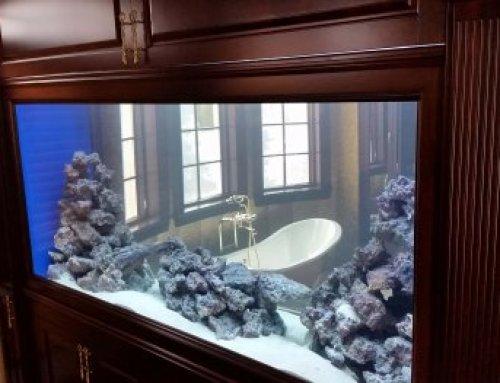 8 foot tank between living room and bathroom